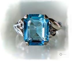 Vanha Hopeasormus Sininen Kivi