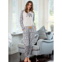 Trofé musta-valkoinen Elefanttikuosillinen puuvilla Pyjama