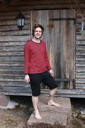 Merineule Musta-Harmaa pitkähihainen t-paita ekopuuvillaa