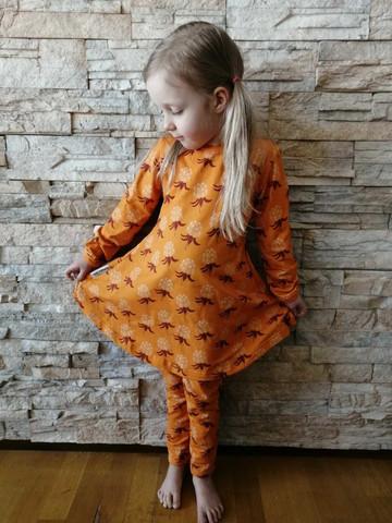 LAINE mekkotunika Hillat oranssi 86-152cm lyhyt- ja pitkähih.