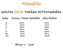 AAVA tunika Salmiakkikennot 3/4hih. XS-3XL ilman taskuja/taskuilla