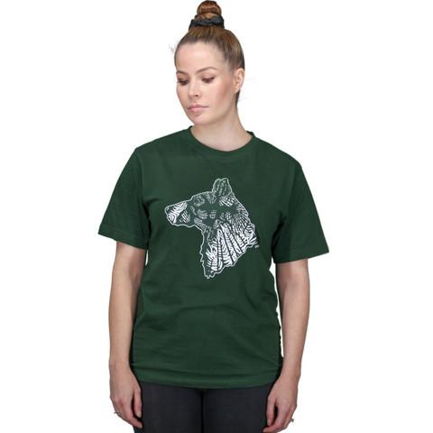 T-paita graafisella koirakuvalla, vihreä