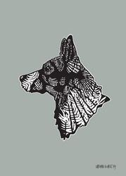 Juliste graafisella koirakuvalla