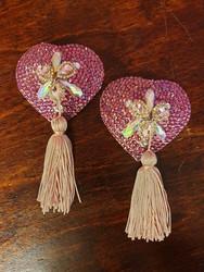 Pink heart tassels