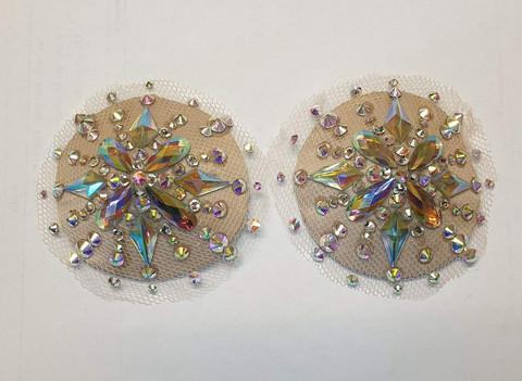 Crystal nude illusion pasties