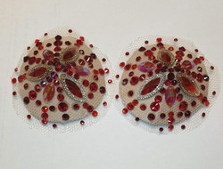 Red nude illusion pasties