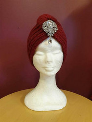 Knitted turban Wine