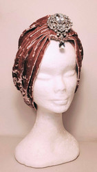 Velvet turban Old Rose