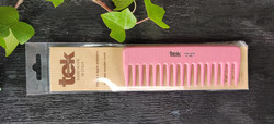 TEK Medium sized wooden comb with wide teeth Pink