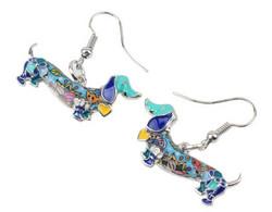 Korvakorut hopeakoukuilla, mäyräkoira, värikäs, sininen