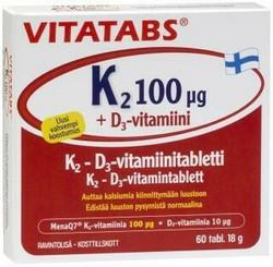 Vitatabs K2 100 µg + D3-vitamiini 60 tabl