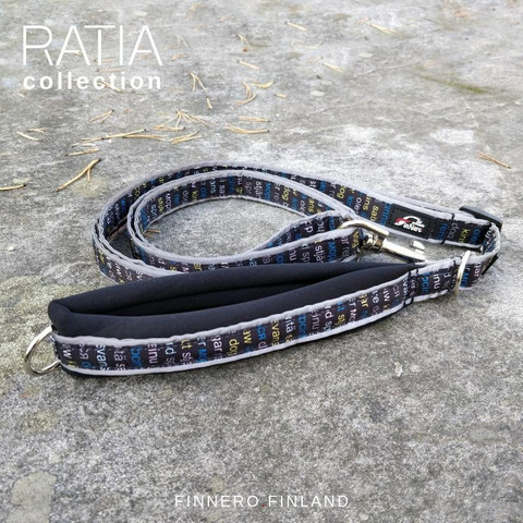 Finnero Ratia Sport säädettävä talutin 2 cm * 120-200 cm, musta