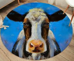 Matto, pyöreä 95 cm, lehmä, sininen pohja