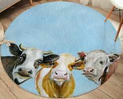 Matto, pyöreä 95 cm, 3 lehmää
