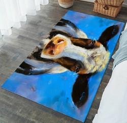 Matto, 91x152 cm, lehmä, sininen pohja