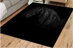Matto 100x150 cm, musta hevonen