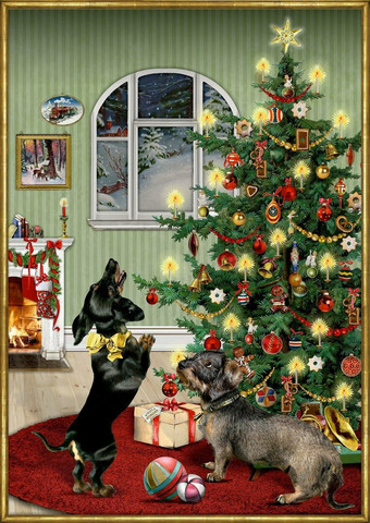 Joulukalenteri, koirien joulu , mäyräkoirat