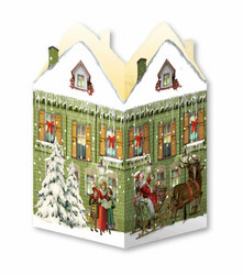 Joulukalenterikortti, nostalginen talo +kirjekuori
