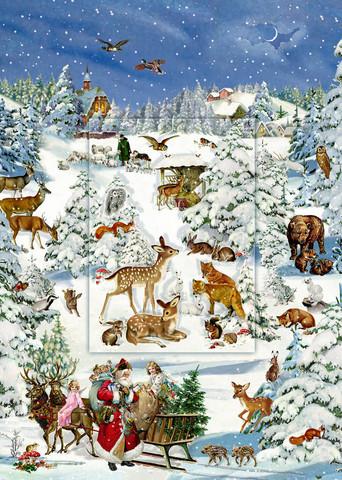 Joulukalenteri, metsäneläimet, lentikulaarinen ikkuna