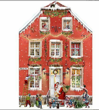 Joulukalenteri, tunnelmallinen joulutalo, punainen