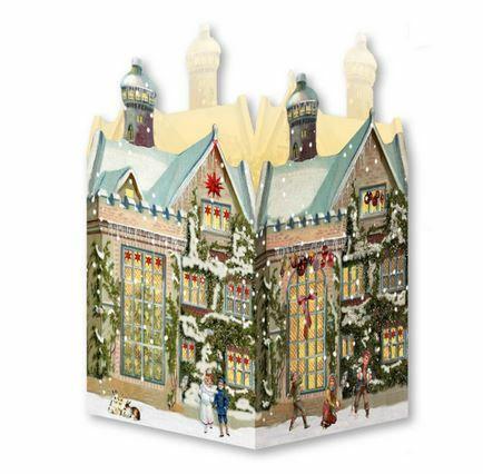 Joulukalenterikortti, nostalginen talo +kirjekuori, ruskea