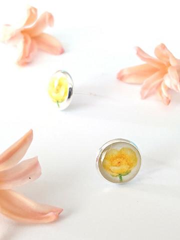 Buttercup flower -stud earrings