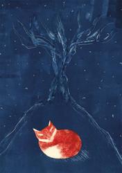 Öinen kettu-taidejuliste A4
