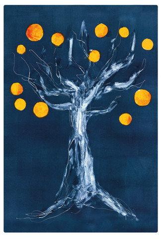 Appelsiinipuu -taidepostikortti