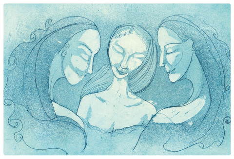 Sleeping Sisters -taidepostikortti