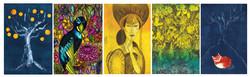 Värikäs taidepostikorttisetti (5kpl)