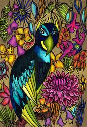 Papukaija -taidepostikortti