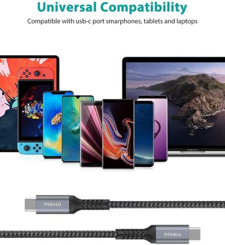 USB-C kaapelit, 2m, 1m ja + 0.3m