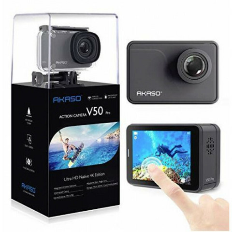 Akaso V50 Pro UHD Action Kamera + Suojakotelot + 2 Akkua