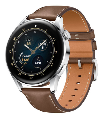 HUAWEI WATCH 3 LTE SILVER WITH BROWN LEATHER STRAP