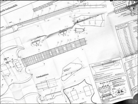 Soitinpiirustukset Presicion-tyyppinen bassokitara