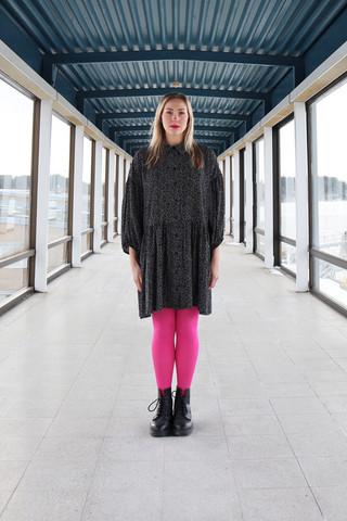 FLIRTY- DRESS, black white dots