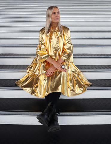 LUSH- DRESS with BOW COLLAR, GOLD