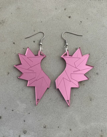 Wings- earring, with hooks pink mirror acrylic
