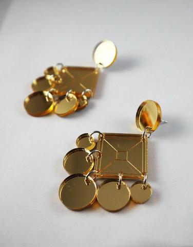 DANGLE - CIRCLE EARRING, GOLD