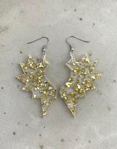 Wings - earring, gold mirror acrylic