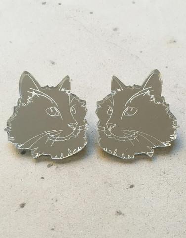 CAT - Earring, Silver mirror acrylic