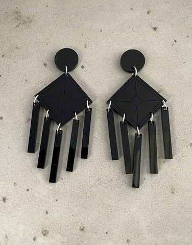 DANGLE - EARRING, BLACK