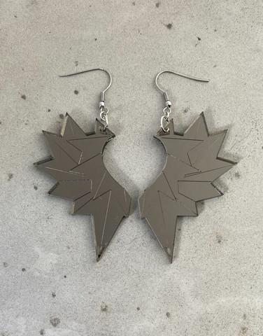 Wings - earring, grey mirror acrylic