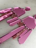 DROP - EARRING, pink/glitter