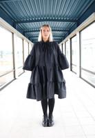 LUSH- SILK DRESS BOW COLLAR, BLACK