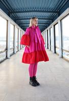 LUSH- DRESS BOW COLLAR, PINK/RED