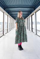 FLOSSY- DRESS long, TURQUOISE LEO