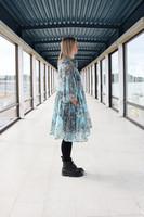 LUSH- DRESS BOW COLLAR, TURQUOISE LEO