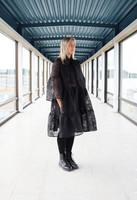 LUSH- DRESS BOW COLLAR, BLACK FLOWER