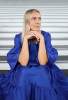 LUSH- DRESS with BOW COLLAR, BLUE